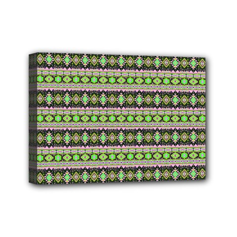 Fancy Tribal Border Pattern 17a Mini Canvas 7  X 5  by MoreColorsinLife