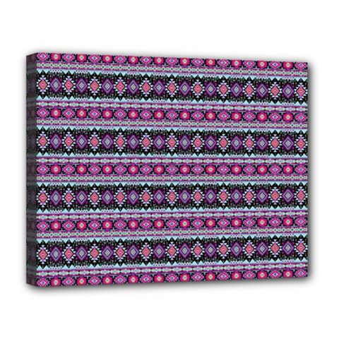 Fancy Tribal Border Pattern 17c Canvas 14  X 11  by MoreColorsinLife