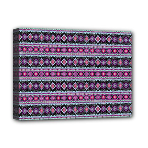 Fancy Tribal Border Pattern 17c Deluxe Canvas 16  X 12   by MoreColorsinLife