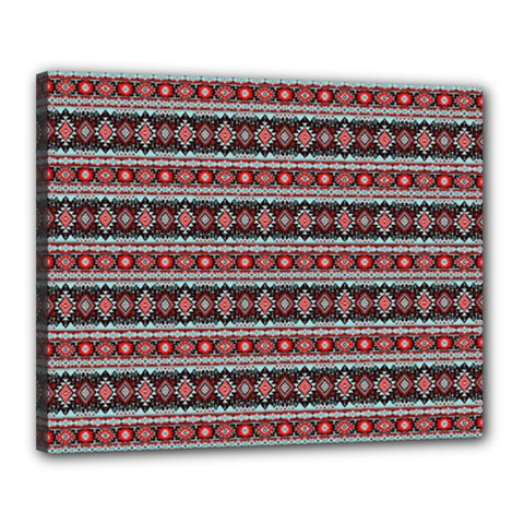Fancy Tribal Border Pattern 17f Canvas 20  X 16  by MoreColorsinLife