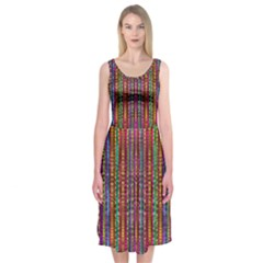 Star Fall In  Retro Peacock Colors Midi Sleeveless Dress by pepitasart