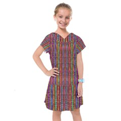 Star Fall In  Retro Peacock Colors Kids  Drop Waist Dress by pepitasart