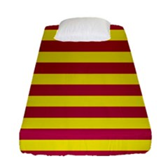 Red & Yellow Stripesi Fitted Sheet (single Size) by norastpatrick