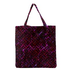 Woven2 Black Marble & Burgundy Marble (r) Grocery Tote Bag by trendistuff