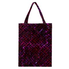 Woven2 Black Marble & Burgundy Marble (r) Classic Tote Bag by trendistuff