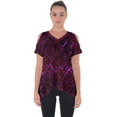 Woven2 Black Marble & Burgundy Marble (r) Cut Out Side Drop Tee