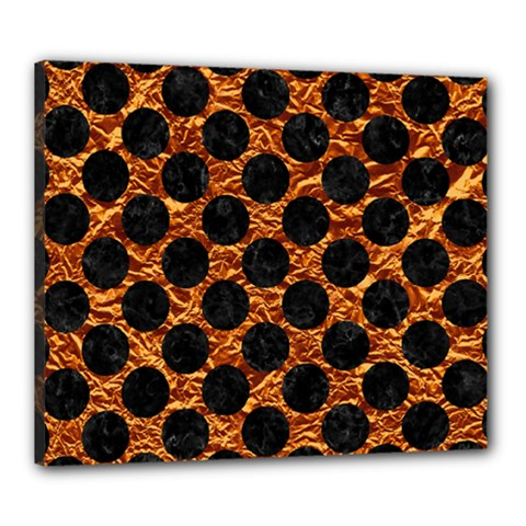 Circles2 Black Marble & Copper Foil (r) Canvas 24  X 20  by trendistuff