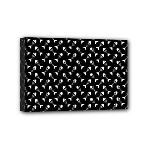 Fish Bones Pattern Mini Canvas 6  X 4  by Valentinaart
