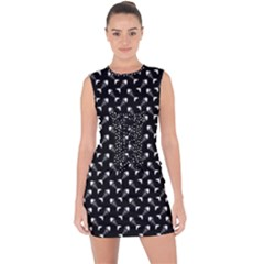 Fish Bones Pattern Lace Up Front Bodycon Dress