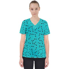 Fish Bones Pattern Scrub Top