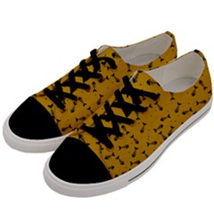 Fish Bones Pattern Men s Low Top Canvas Sneakers by ValentinaDesign