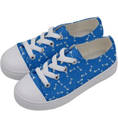 Fish Bones Pattern Kids  Low Top Canvas Sneakers by ValentinaDesign