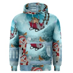 Christmas Design, Santa Claus With Reindeer In The Sky Men s Pullover Hoodie by FantasyWorld7
