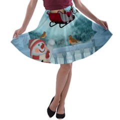 Christmas Design, Santa Claus With Reindeer In The Sky A Line Skater Skirt