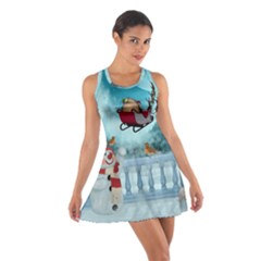 Christmas Design, Santa Claus With Reindeer In The Sky Cotton Racerback Dress by FantasyWorld7