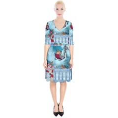 Christmas Design, Santa Claus With Reindeer In The Sky Wrap Up Cocktail Dress