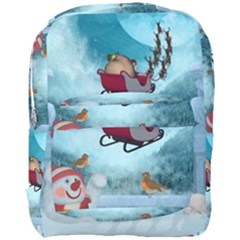 Christmas Design, Santa Claus With Reindeer In The Sky Full Print Backpack