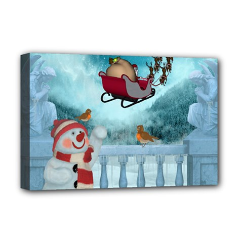 Christmas Design, Santa Claus With Reindeer In The Sky Deluxe Canvas 18  X 12   by FantasyWorld7