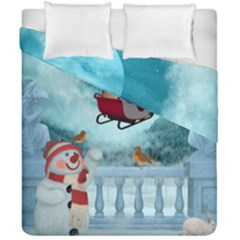 Christmas Design, Santa Claus With Reindeer In The Sky Duvet Cover Double Side (california King Size) by FantasyWorld7