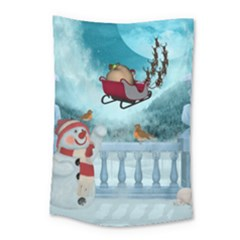 Christmas Design, Santa Claus With Reindeer In The Sky Small Tapestry by FantasyWorld7