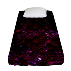 Scales2 Black Marble & Burgundy Marble (r) Fitted Sheet (single Size) by trendistuff