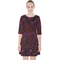 Damask2 Black Marble & Burgundy Marble Pocket Dress