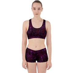 Damask2 Black Marble & Burgundy Marble Work It Out Sports Bra Set