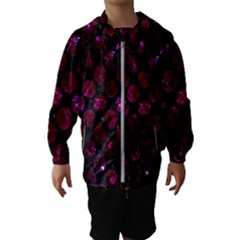 Circles2 Black Marble & Burgundy Marble Hooded Wind Breaker (kids) by trendistuff