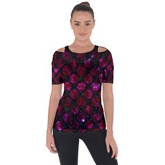 Circles2 Black Marble & Burgundy Marble Short Sleeve Top by trendistuff