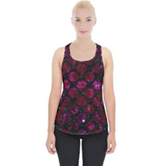 Circles2 Black Marble & Burgundy Marble Piece Up Tank Top