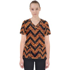 Chevron9 Black Marble & Copper Foil (r) Scrub Top