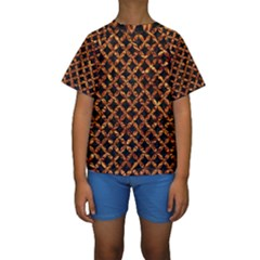 Circle3 Black Marble & Copper Foilper Foil Kids  Short Sleeve Swimwear by trendistuff