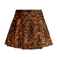 Damask1 Black Marble & Copper Foil (r) Mini Flare Skirt