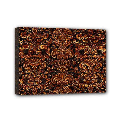 Damask2 Black Marble & Copper Foil Mini Canvas 7  X 5  by trendistuff