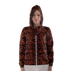 Damask2 Black Marble & Copper Foil Hooded Wind Breaker (women) by trendistuff