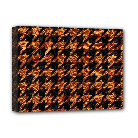 Houndstooth1 Black Marble & Copper Foil Deluxe Canvas 16  X 12   by trendistuff