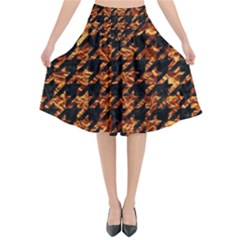 Houndstooth1 Black Marble & Copper Foil Flared Midi Skirt by trendistuff