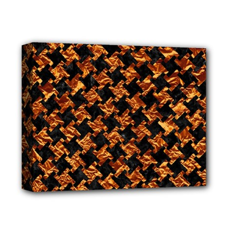Houndstooth2 Black Marble & Copper Foil Deluxe Canvas 14  X 11  by trendistuff