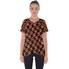 Houndstooth2 Black Marble & Copper Foil Cut Out Side Drop Tee