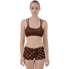 Houndstooth2 Black Marble & Copper Foil Women s Sports Set by trendistuff