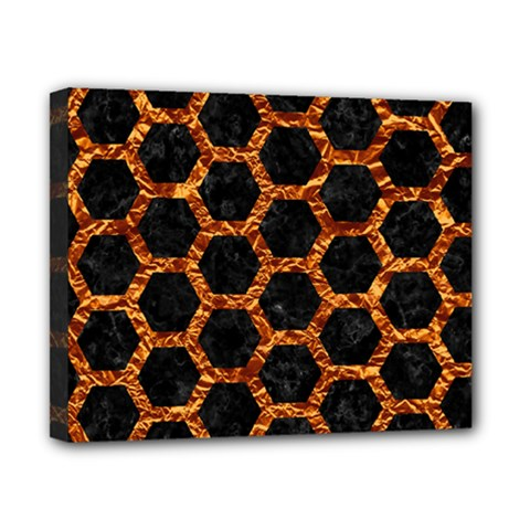Hexagon2 Black Marble & Copper Foilmarble & Copper Foil Canvas 10  X 8  by trendistuff