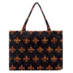 Royal1 Black Marble & Copper Foil (r) Zipper Medium Tote Bag by trendistuff