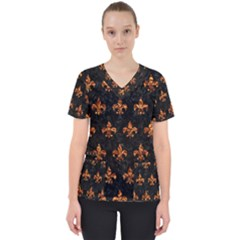 Royal1 Black Marble & Copper Foil (r) Scrub Top by trendistuff