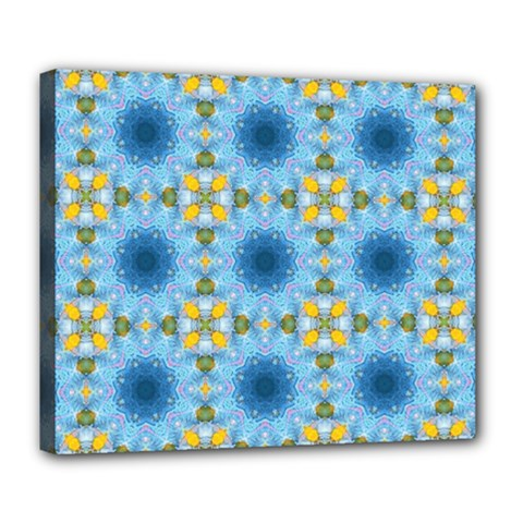 Blue Nice Daisy Flower Ang Yellow Squares Deluxe Canvas 24  X 20   by MaryIllustrations