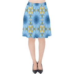 Blue Nice Daisy Flower Ang Yellow Squares Velvet High Waist Skirt