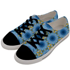 Blue Nice Daisy Flower Ang Yellow Squares Men s Low Top Canvas Sneakers by MaryIllustrations