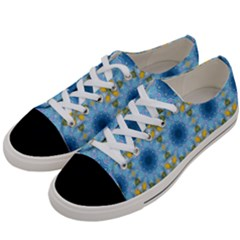 Blue Nice Daisy Flower Ang Yellow Squares Women s Low Top Canvas Sneakers by MaryIllustrations