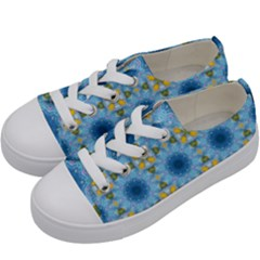 Blue Nice Daisy Flower Ang Yellow Squares Kids  Low Top Canvas Sneakers by MaryIllustrations