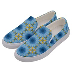 Blue Nice Daisy Flower Ang Yellow Squares Men s Canvas Slip Ons by MaryIllustrations