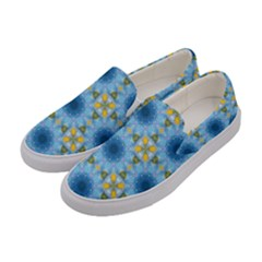 Blue Nice Daisy Flower Ang Yellow Squares Women s Canvas Slip Ons by MaryIllustrations